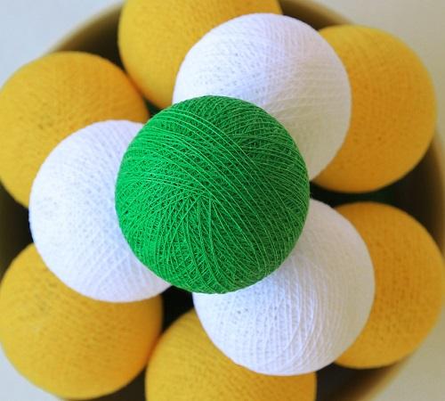 mbažne lučke na vrvici ♥YELLOW & WHITE & LIGHT GREEN♥