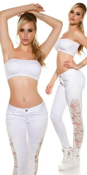 Ženske KouCla jeans hlače s čipko