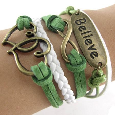 Infinity zapestnica zelena - Believe