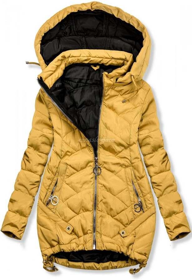 Ženska dvobarvna prešita jakna s kapuco