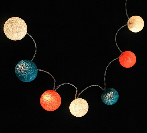 Bombažne lučke na vrvici ♥HEAVY AQUA & DUTCH ORANGE & WHITE♥