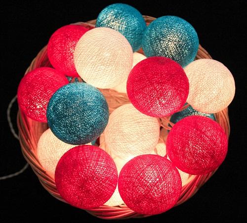 Bombažne lučke na vrvici ♥BRIGHT PINK & WHITE & HEAVY AQUA♥