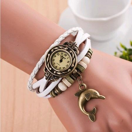 Ženska vintage ura z delfinom