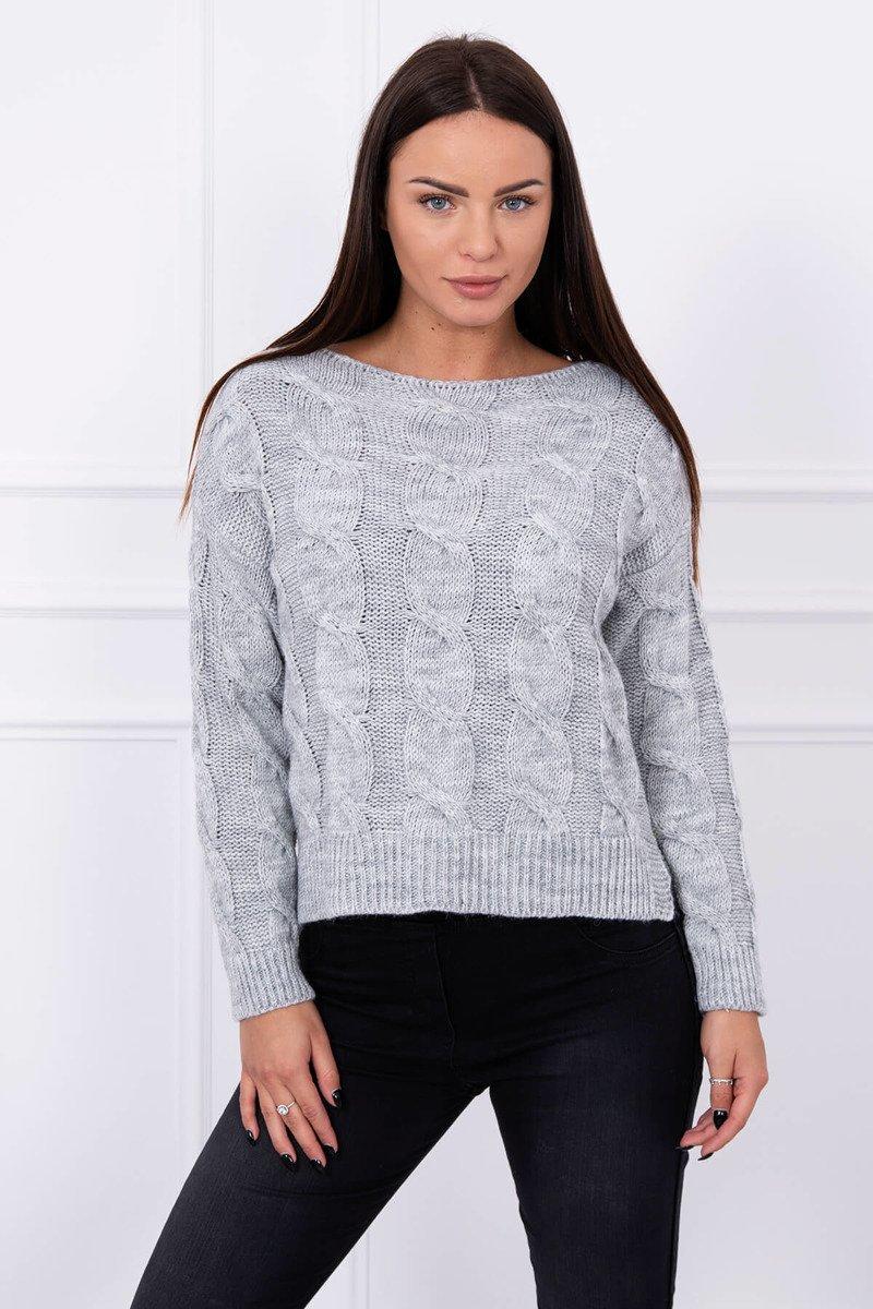 Ženski pulover z daljšim hrbtnim delom