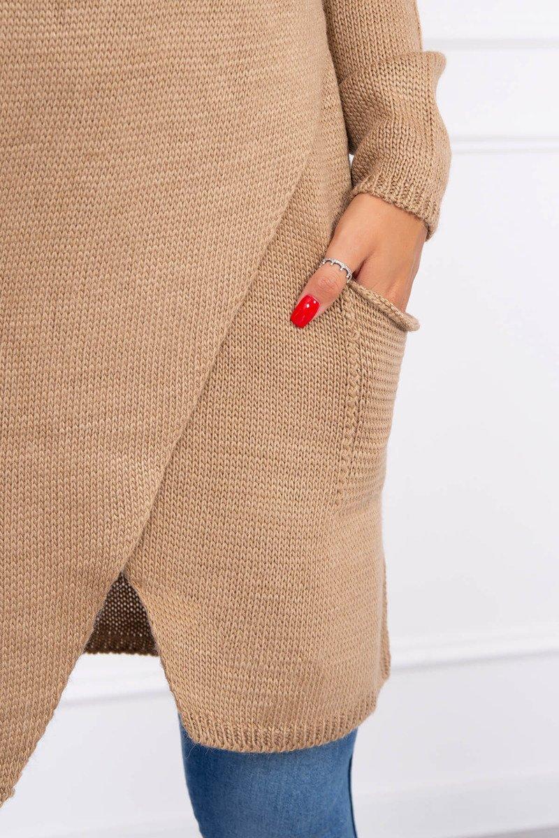 Ženski pleten pulover s kapuco in žepi