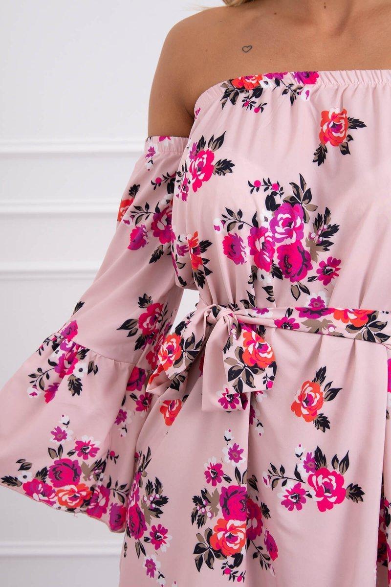 Cvetlična obleka z vezavo v pasu