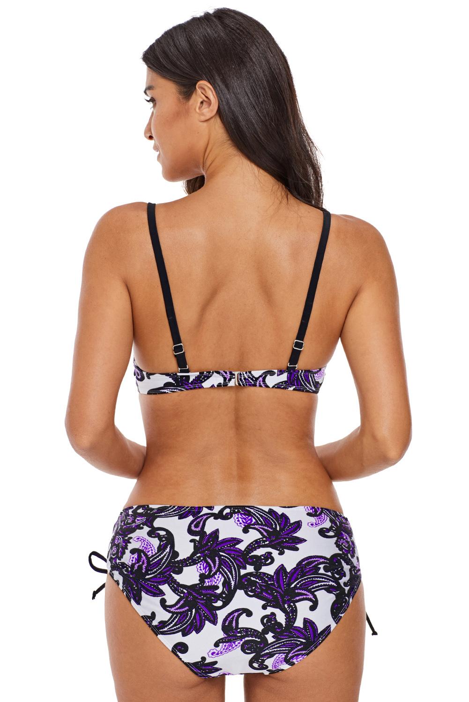 Ženske dvodelne kopalke NASTYA White/Purple