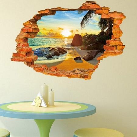 Stenska nalepka 3D prelepa plaža