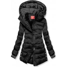 Prešita zimska bunda s srebrnimi detajli S603, črna