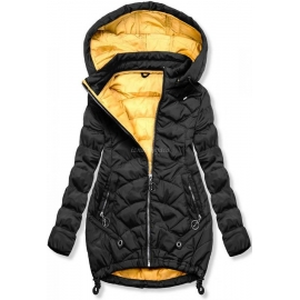 Ženska dvobarvna prešita jakna s kapuco 45843, črna