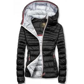 Ženska prešita jakna s srebrno notranjostjo W02, črna