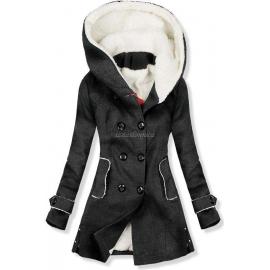 Ženski plašč s podlogo in kapuco NI-03, temno siv