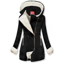 Ženski plašč z odstranljivo kapuco NI-02, črn