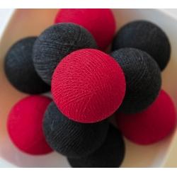 Bombažne lučke na vrvici ♥BLACK & RED♥