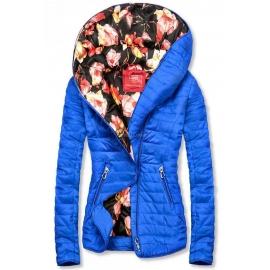 Modna prehodna jakna s cvetličnim potiskom DL015, modra