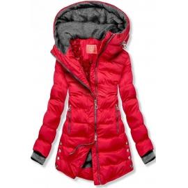 Prešita zimska bunda s srebrnimi detajli S603, rdeča