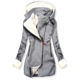 Ženski plašč z odstranljivo kapuco NI-02, svetlo siv