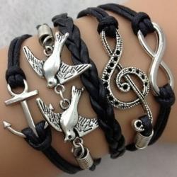 Infinity zapestnica črna - Violinski ključ