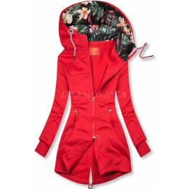 Daljša jopica s cvetličnim potiskom na kapuci AMG719, rdeča