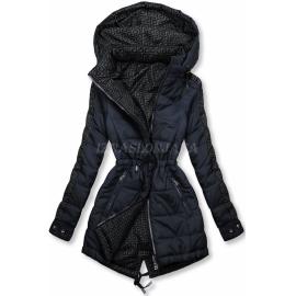 Obojestranska prehodna jakna z vzorcem W556, temno modra/siva