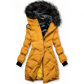 Prešita zimska bunda s kombinirano notranjostjo M-973, gorčično rumena