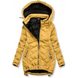 Ženska dvobarvna prešita jakna s kapuco 45845, gorčično rumena
