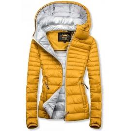 Ženska prešita jakna s srebrno notranjostjo W02, gorčično rumena