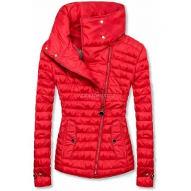 Ženska prešita jakna z visokim ovratnikom DL016, rdeča