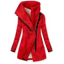 Ženski plašč s poševno zadrgo NI-01, rdeč