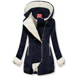 Ženski plašč z odstranljivo kapuco NI-02, temno moder