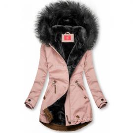 Zimska bunda z rjavimi dodatki M-923, svetlo roza/siva