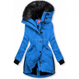 Zimsko bunda z visokim ovratnikom, modra