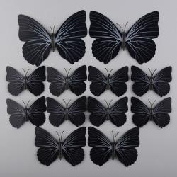 3D metuljčki za dekoracijo doma, črni3D metuljčki za dekoracijo doma, črni