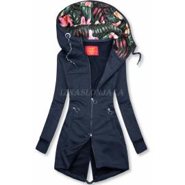 Daljša jopica s cvetličnim potiskom na kapuci AMG719, temno modra