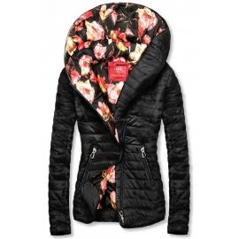 Modna prehodna jakna s cvetličnim potiskom DL015, črna