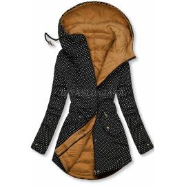 Obojestranska prehodna jakna s pikicami, črna/karamelna