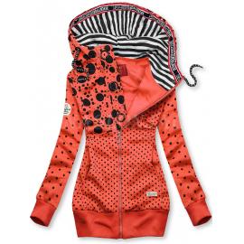 Pikčasta jopica z zebrastim vzorcem na kapuci AMG540, oranžna