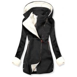 Ženski plašč z odstranljivo kapuco NI-02, temno siv