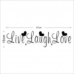 Stenska nalepka 'Live, Laugh, Love'
