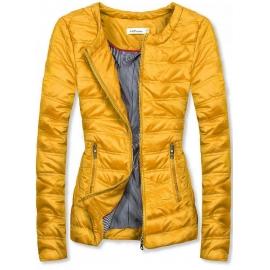 Kratka prešita jakna s črtasto podlogo S-111, rumena
