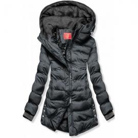 Prešita zimska bunda s srebrnimi detajli S603, siva