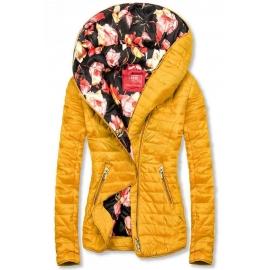 Modna prehodna jakna s cvetličnim potiskom DL015, rumena