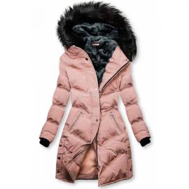 Prešita zimska bunda s kombinirano notranjostjo, svetlo roza