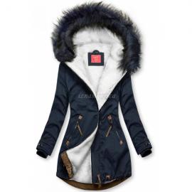 Zimska bunda z rjavimi dodatki M-923, temno modra/bela