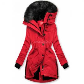 Zimsko bunda z visokim ovratnikom, rdeča