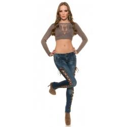 Ženske KouCla jeans hlače s trakci ob strani