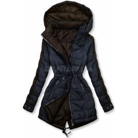 Obojestranska prehodna jakna z vzorcem W556, temno modra/rjava