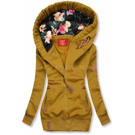 Topla jopica s cvetlično kapuco AMG725A, gorčično rumena