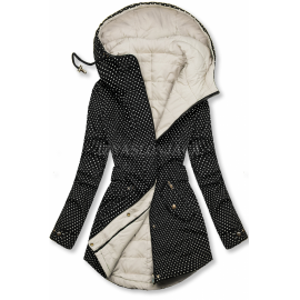 Obojestranska prehodna jakna s pikicami M-111, črna/ekru