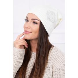 Ženska kapa z bleščicami K99, ekru
